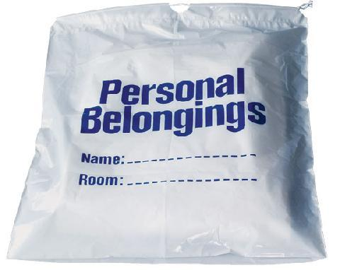 Dukal Patient Belongings Bag 20 X 20 Inch Polyethylene Drawstring Closure, White DSPB01