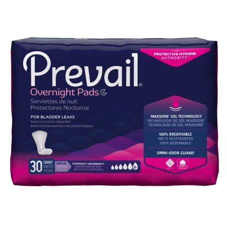 Prevail Daily Overnight Bladder Control Pads for Women, 16 Inch Length, Heavy Absorbency
