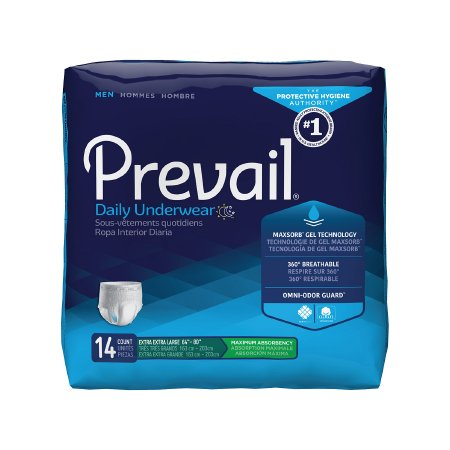 Prevail Men's Daily Pull On Disposable Underwear, 2XL, Heavy Absorbency