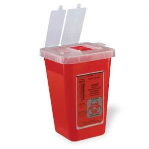 1 Quart Red Phlebotomy Sharps Container