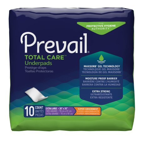 Prevail Total Care Disposable Underpad, Heavy Absorbency