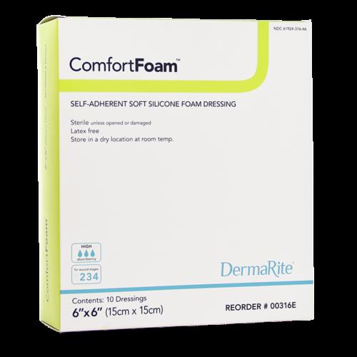 """ComfortFoam 6""""x6"""" Non-Border Soft Silicone Foam Dressing, Sterile, Box of 10"""