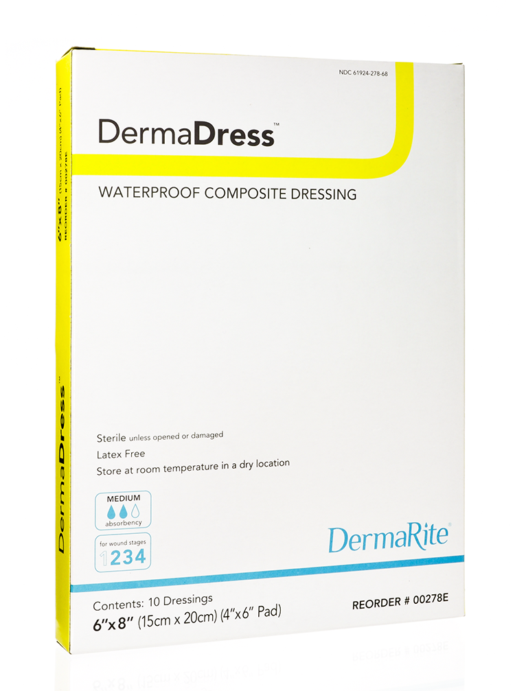 DermaDress Waterproof 6x8 Inch Composite Dressing, Sterile, Box of 10