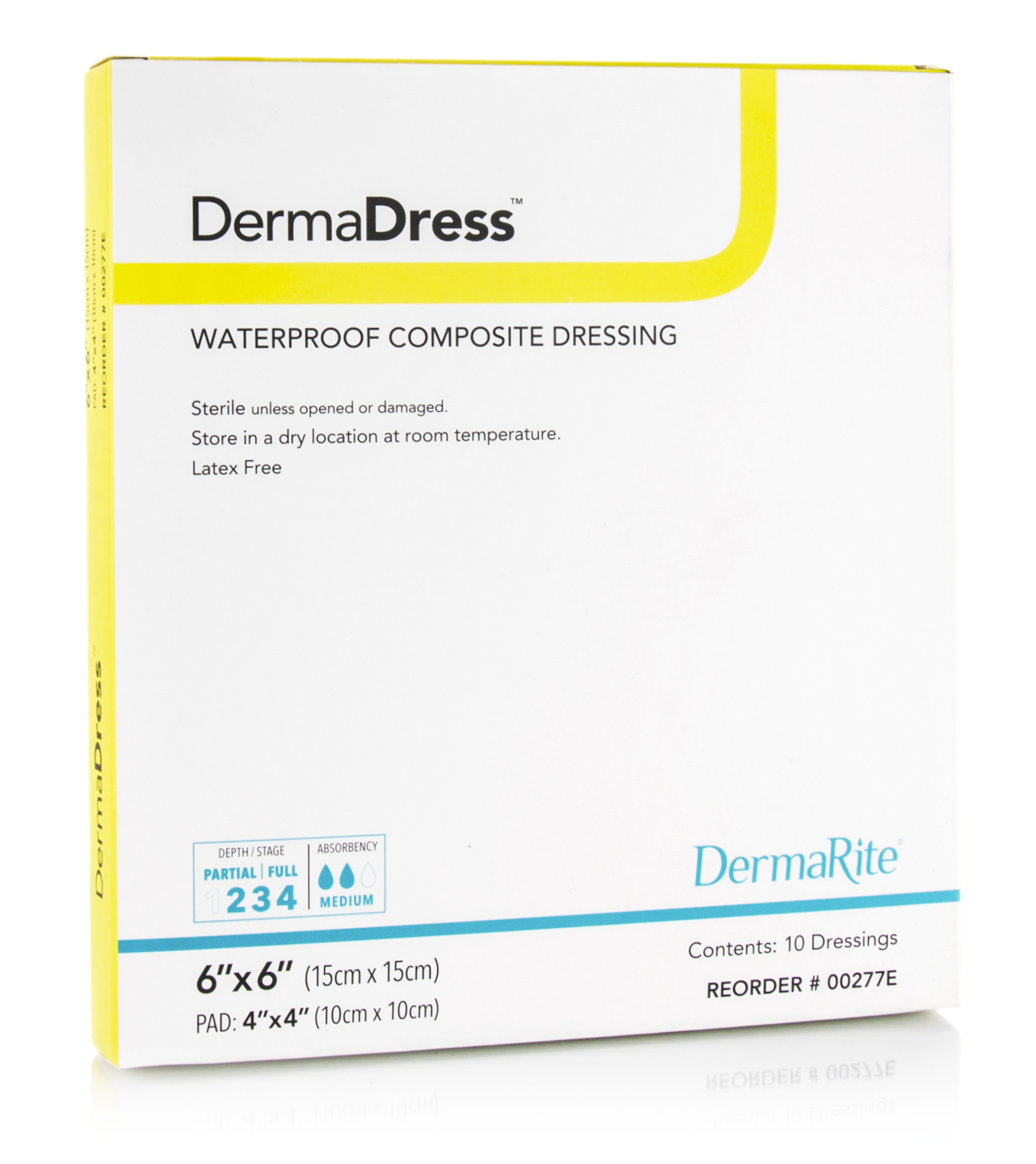 DermaDress Waterproof 6x6 Inch Composite Dressing, Sterile, Box of 10