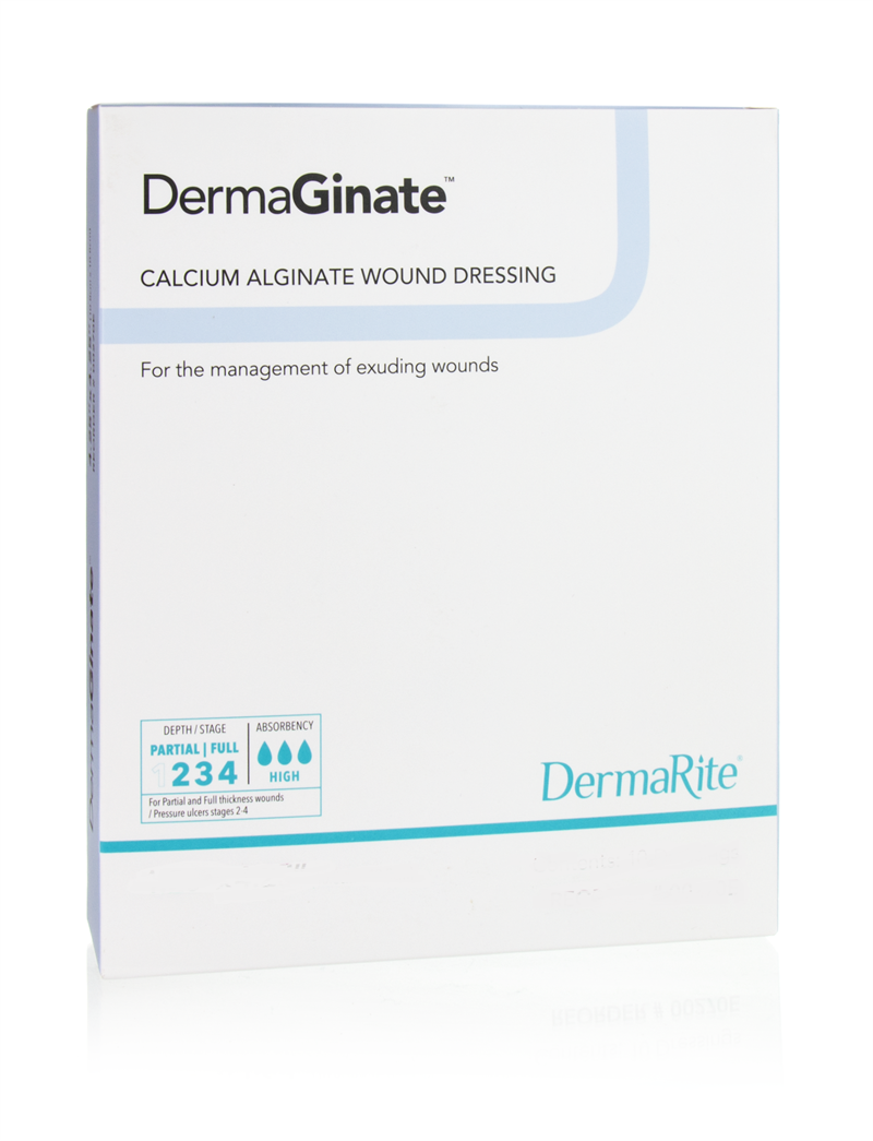 DermaGinate 4x8 Inch Calcium Alginate Dressing, Sterile, Box of 5