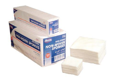 """Dukal NonWoven Clinisorb Polyester/Rayon 4-ply 2"""" X 2"""" Square Sponge, Non-Sterile 2102"""