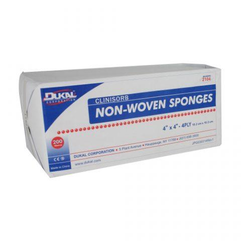 """Dukal NonWoven Clinisorb Polyester/Rayon 4-ply 4"""" X 4"""" Square Sponge, Non-Sterile 2104"""