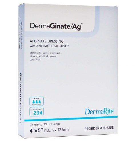 DermaGinate AG Alginate Wound Dressing with Silver 00525E