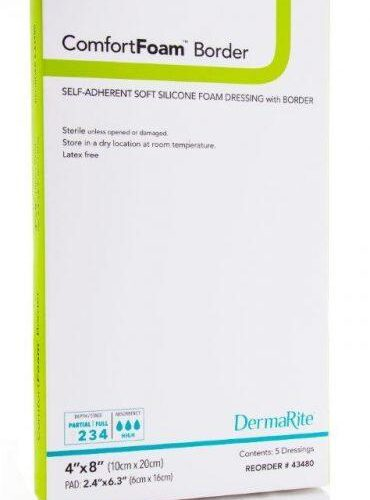 4X8 Inch Self-Adherent Silicone Foam Dressing with Border