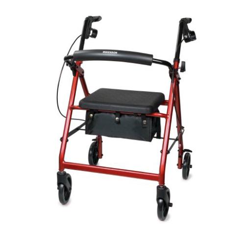 McKesson 4 Wheel Folding Rollator, Red, Aluminum Frame - 146-R726RD
