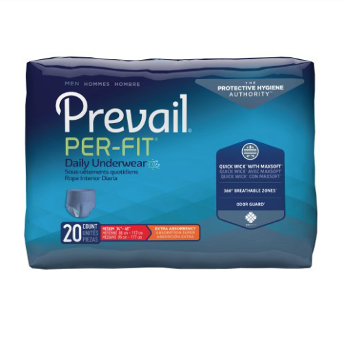 Prevail Per-Fit Pull On Underwear for Men with Tear Away Seams, Medium, Moderate Absorbency