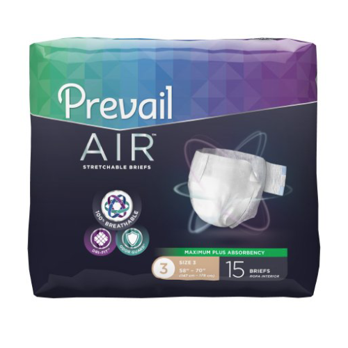 Prevail AIR Stretchable Adult Brief, Size 3, Heavy Absorbency