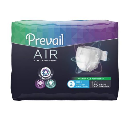 Prevail AIR Stretchable Brief, Size 2, Heavy Absorbency