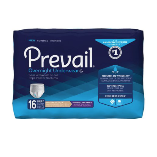 Prevail Men's Overnight Pull On Underwear with Tear Away Seams, Large, Heavy Absorbency