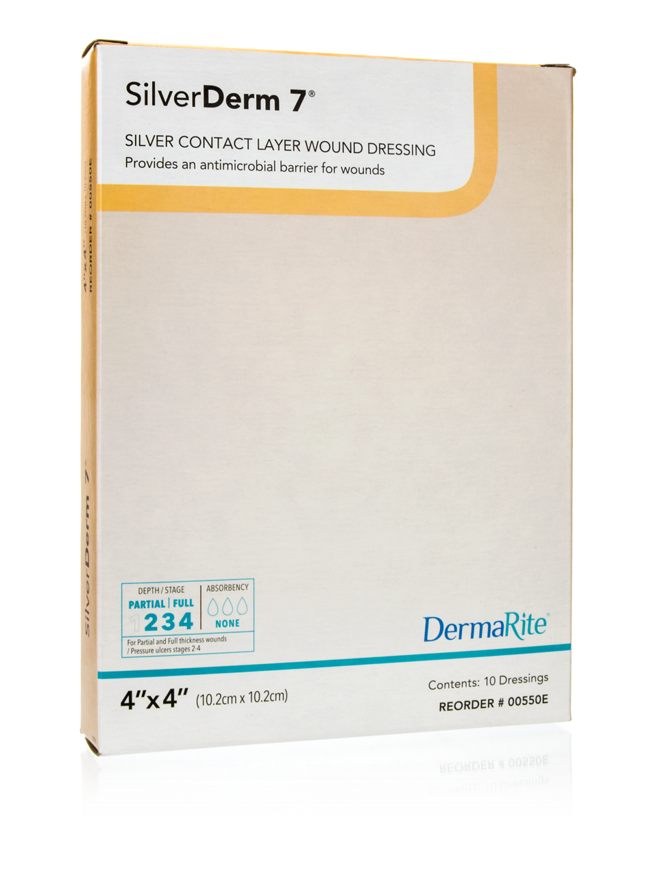 """SilverDerm7 Silver Contact Layer Wound Dressing, 4""""X4"""", Sterile"""
