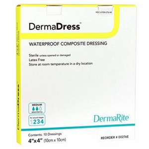 DermaDress Waterproof 4x4 Inch Composite Dressing, Sterile, Box of 10