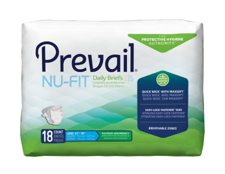 Prevail NU-FIT Adult Brief, Large, Heavy Absorbency