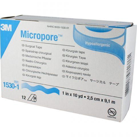 """Tape Micropore 1"""" x 10yds Paper, roll - 1530-1"""