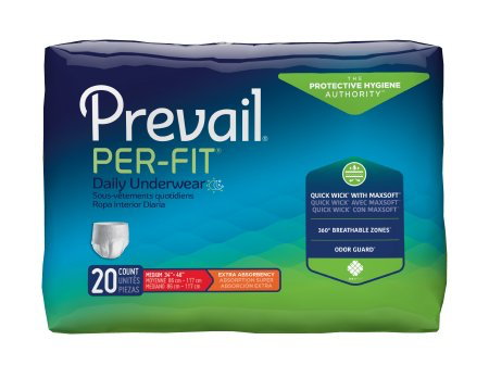 Prevail Per-Fit Pull On Adult Underwear with Tear Away Seams, Medium, Heavy Absorbency