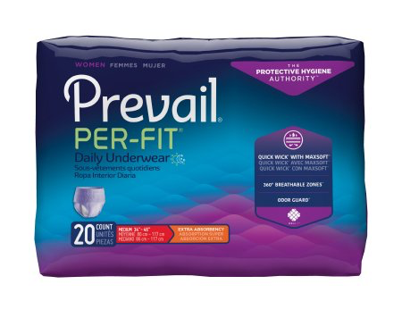 Prevail Per-Fit Pull On Underwear for Women with Tear Away Seams, Medium, Moderate Absorbency