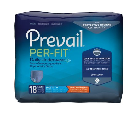 Prevail Per-Fit Pull On Underwear for Men with Tear Away Seams, Large, Moderate Absorbency