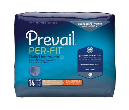 Prevail Per-Fit Pull On Underwear for Men with Tear Away Seams, X-Large, Moderate Absorbency
