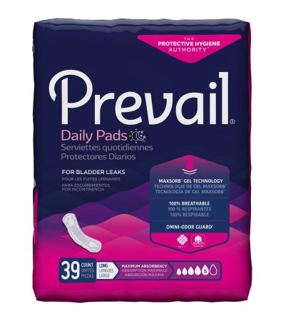 Prevail Daily Bladder Control Pads for Women, 13 Inch Length, Heavy Absorbency