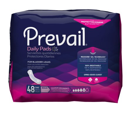 Prevail Daily Bladder Control Pads for Women, 11 Inch Length, Heavy Absorbency