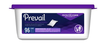 Prevail Premium Pre-moistened Washcloths, Scented, Resealable Tub with Press Open Lid