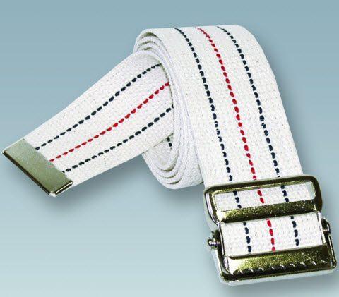 "Gait/Transfer Belt, White, Metal Buckle, 2""x 60"""